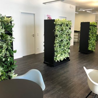 Mobile greenwall as room divider